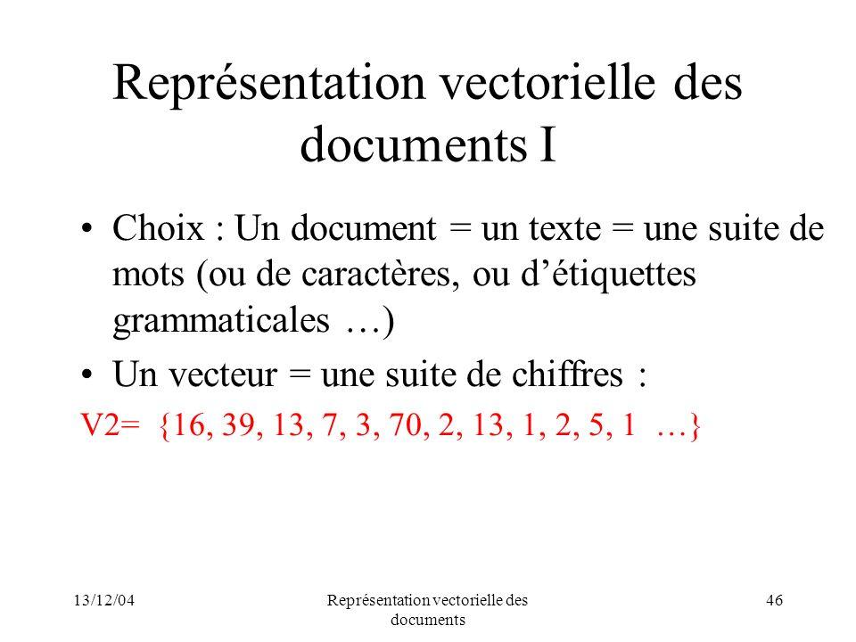 13/12/04Représentation vectorielle des documents 46 Représentation vectorielle des documents I Choix : Un document = un texte = une suite de mots (ou