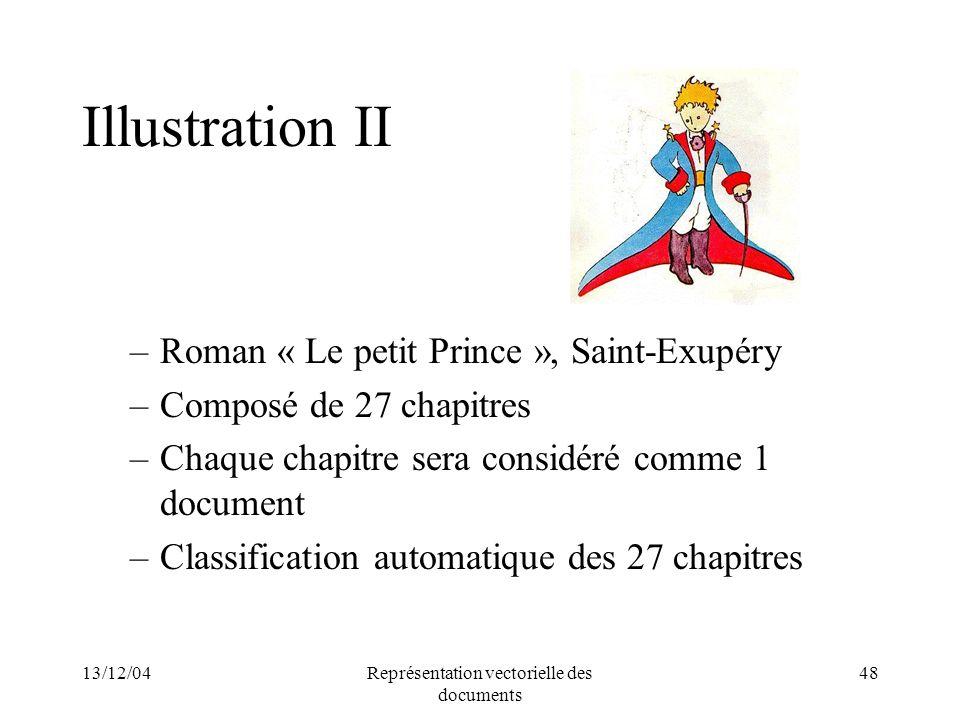 13/12/04Représentation vectorielle des documents 48 Illustration II –Roman « Le petit Prince », Saint-Exupéry –Composé de 27 chapitres –Chaque chapitr