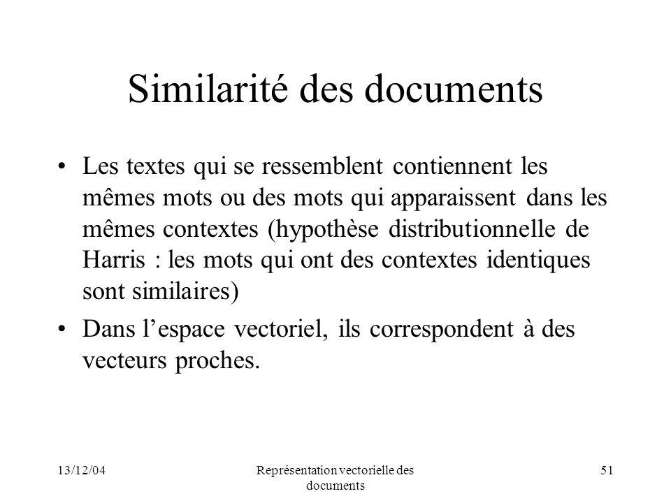 13/12/04Représentation vectorielle des documents 51 Similarité des documents Les textes qui se ressemblent contiennent les mêmes mots ou des mots qui