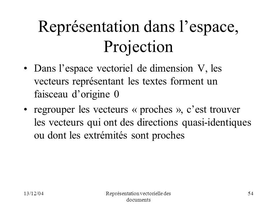 13/12/04Représentation vectorielle des documents 54 Représentation dans lespace, Projection Dans lespace vectoriel de dimension V, les vecteurs représ