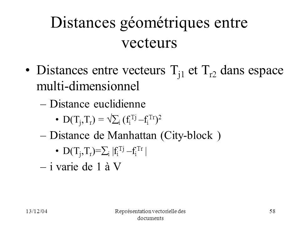13/12/04Représentation vectorielle des documents 58 Distances géométriques entre vecteurs Distances entre vecteurs T j1 et T r2 dans espace multi-dime