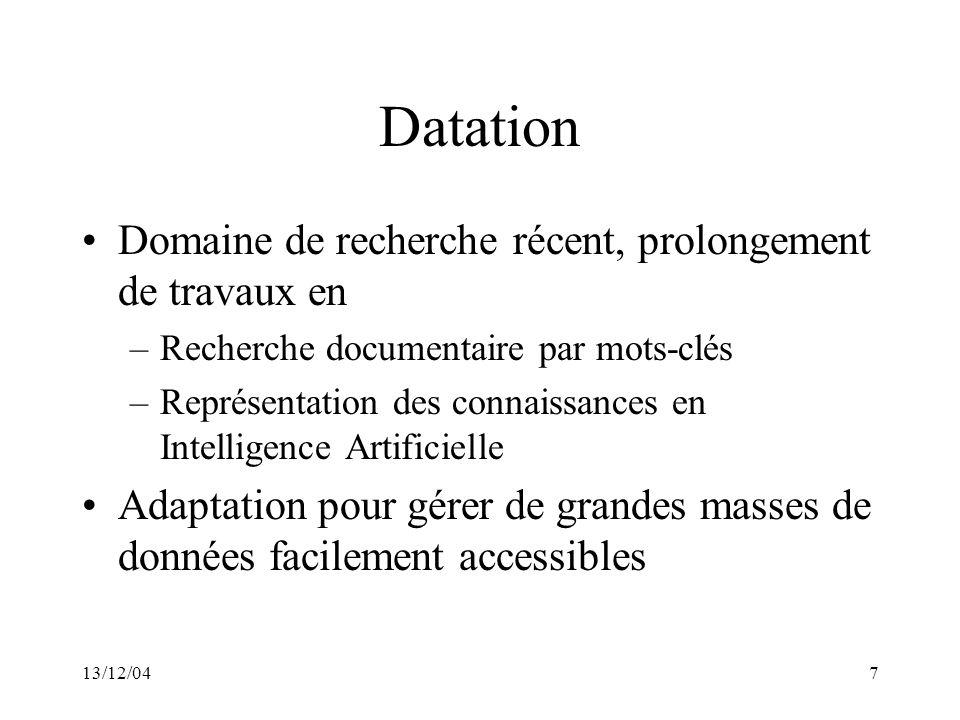 13/12/047 Datation Domaine de recherche récent, prolongement de travaux en –Recherche documentaire par mots-clés –Représentation des connaissances en