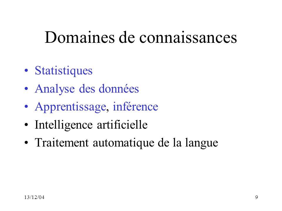 13/12/049 Domaines de connaissances Statistiques Analyse des données Apprentissage, inférence Intelligence artificielle Traitement automatique de la l