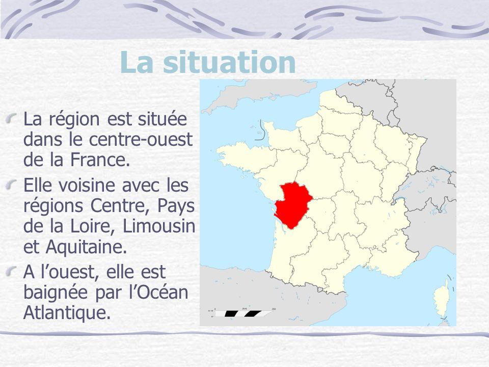 La situation La région est située dans le centre-ouest de la France.