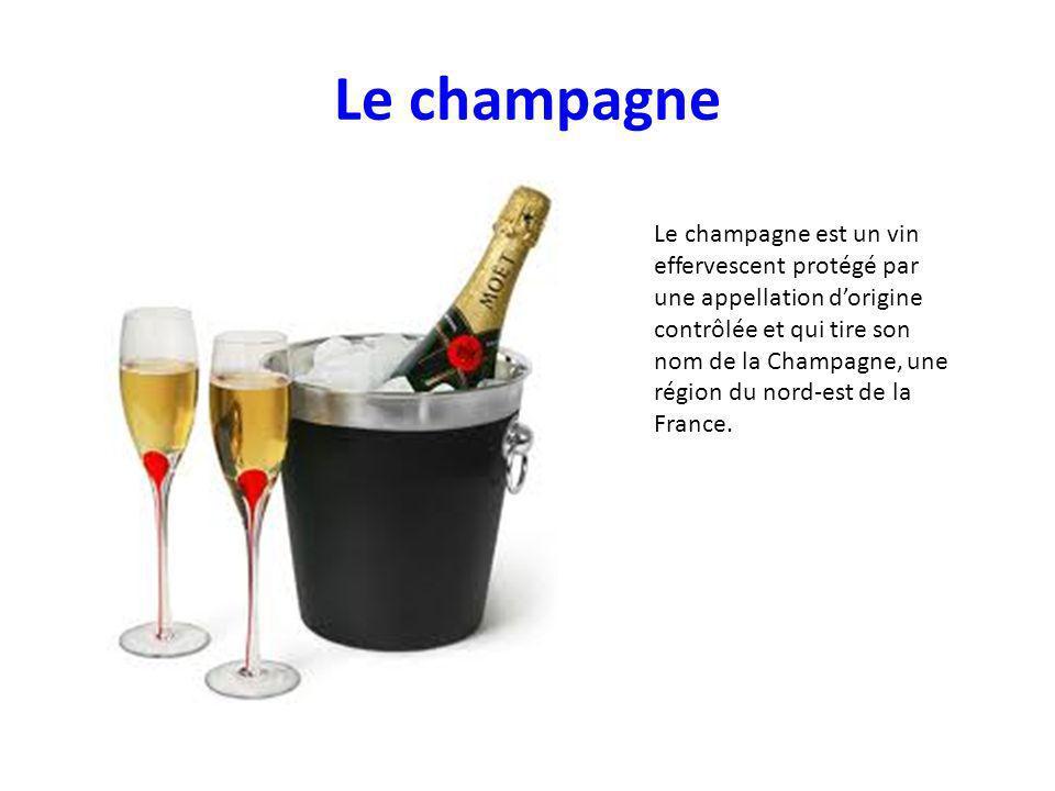Le champagne Le champagne est un vin effervescent protégé par une appellation dorigine contrôlée et qui tire son nom de la Champagne, une région du nord-est de la France.