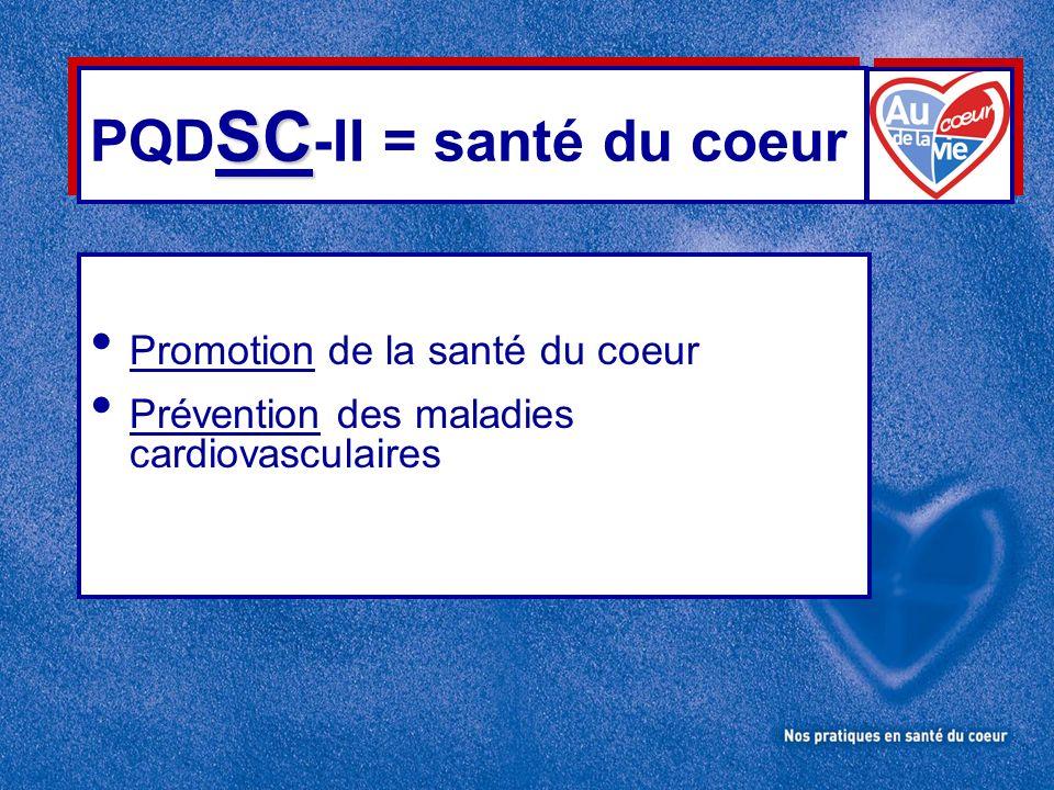 SC PQD SC -II = santé du coeur Promotion de la santé du coeur Prévention des maladies cardiovasculaires