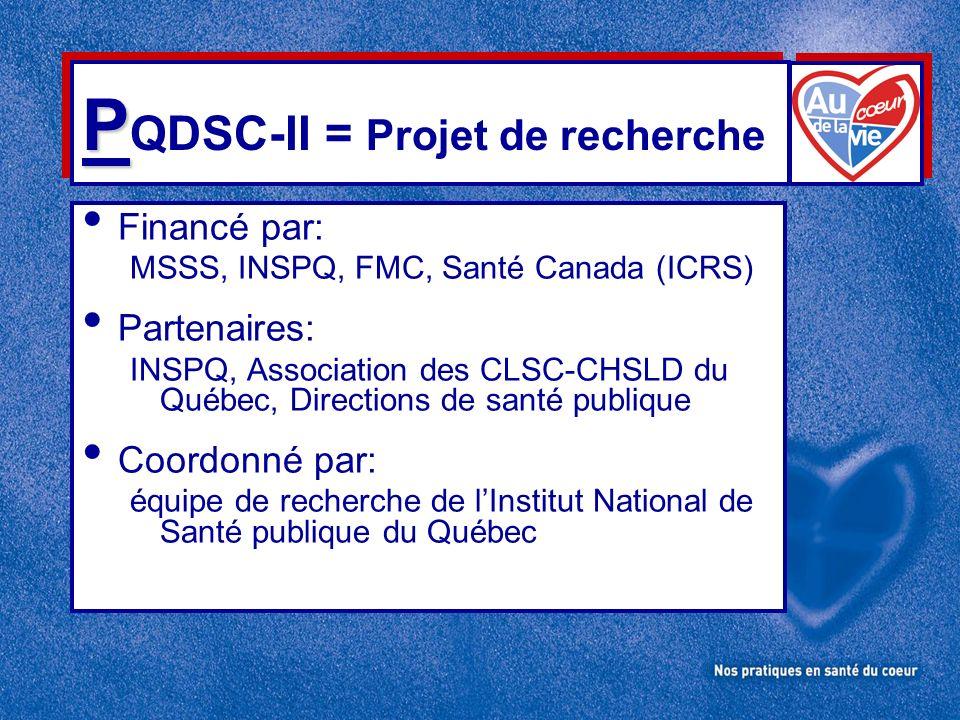 P P QDSC-II = Projet de recherche Financé par: MSSS, INSPQ, FMC, Santé Canada (ICRS) Partenaires: INSPQ, Association des CLSC-CHSLD du Québec, Directions de santé publique Coordonné par: équipe de recherche de lInstitut National de Santé publique du Québec