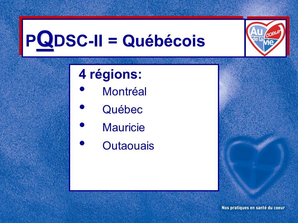 Q P Q DSC-II = Québécois 4 régions: Montréal Québec Mauricie Outaouais