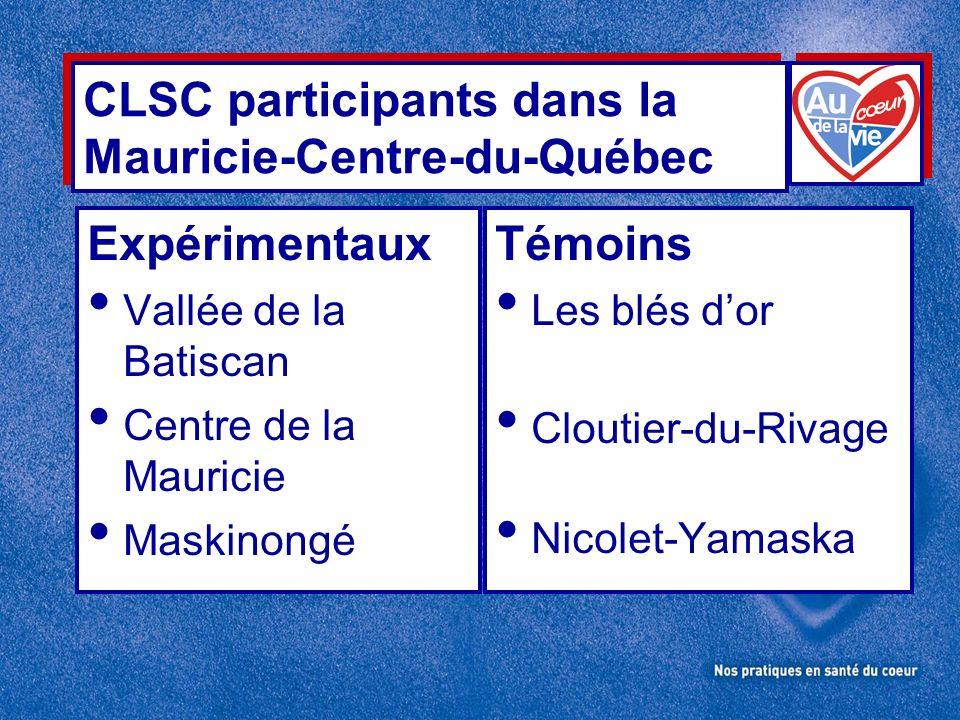 CLSC participants dans la Mauricie-Centre-du-Québec Expérimentaux Vallée de la Batiscan Centre de la Mauricie Maskinongé Témoins Les blés dor Cloutier-du-Rivage Nicolet-Yamaska