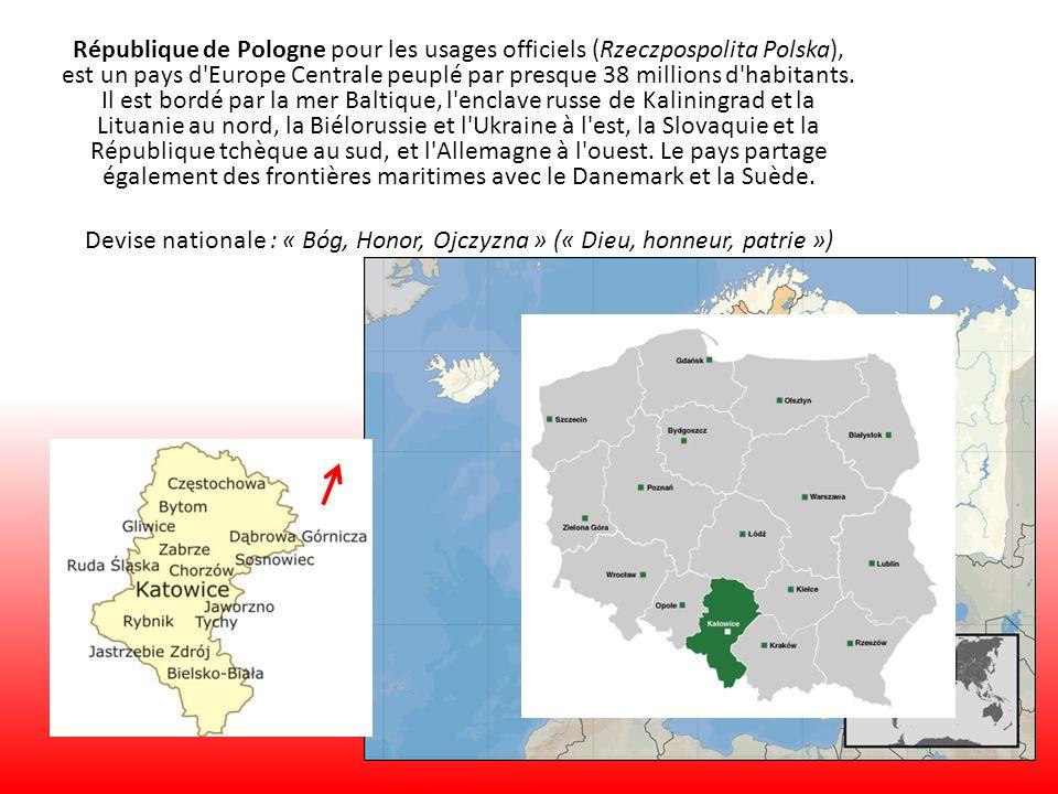 République de Pologne pour les usages officiels (Rzeczpospolita Polska), est un pays d'Europe Centrale peuplé par presque 38 millions d'habitants. Il