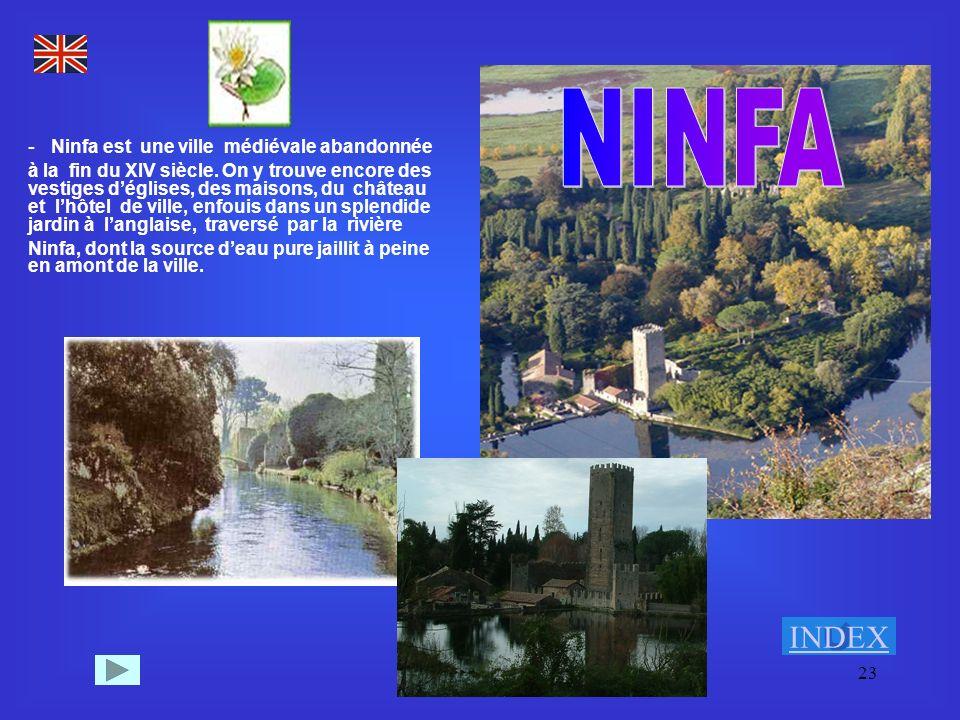 23 - Ninfa est une ville médiévale abandonnée à la fin du XIV siècle. On y trouve encore des vestiges déglises, des maisons, du château et lhôtel de v