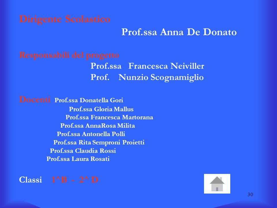 30 Dirigente Scolastico Prof.ssa Anna De Donato Responsabili del progetto Prof.ssa Francesca Neiviller Prof. Nunzio Scognamiglio Docenti Prof.ssa Dona