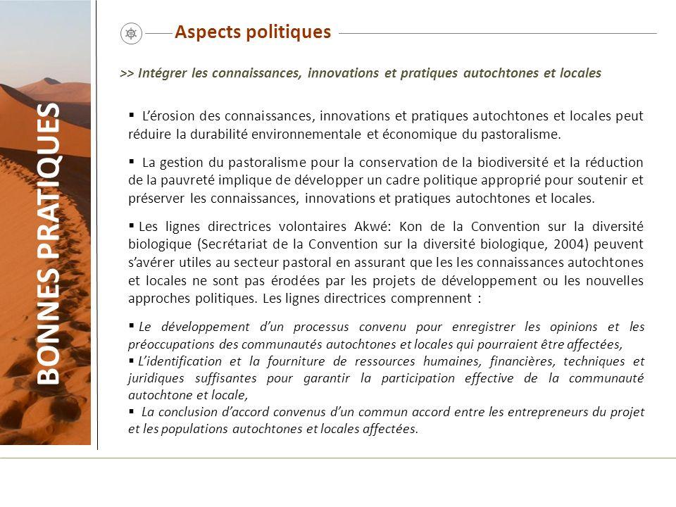 Aspects politiques Lérosion des connaissances, innovations et pratiques autochtones et locales peut réduire la durabilité environnementale et économiq