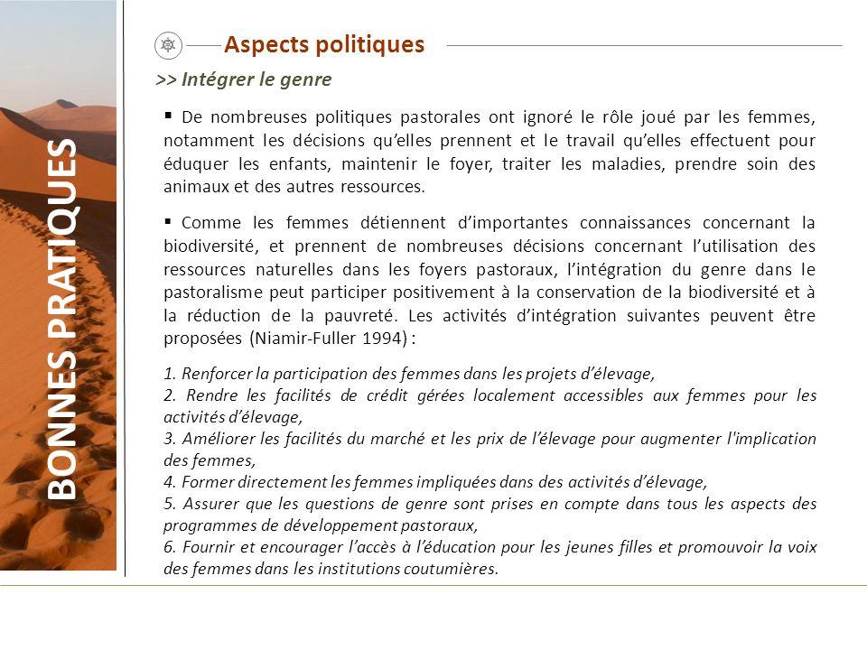 Aspects politiques BONNES PRATIQUES De nombreuses politiques pastorales ont ignoré le rôle joué par les femmes, notamment les décisions quelles prenne