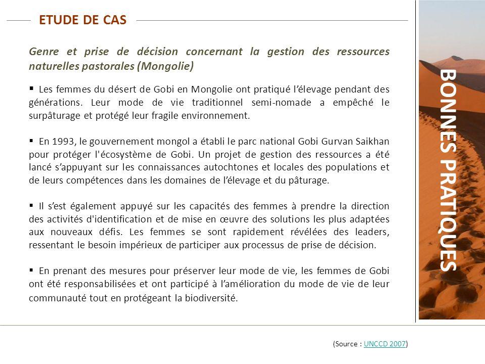 ETUDE DE CAS Genre et prise de décision concernant la gestion des ressources naturelles pastorales (Mongolie) Les femmes du désert de Gobi en Mongolie