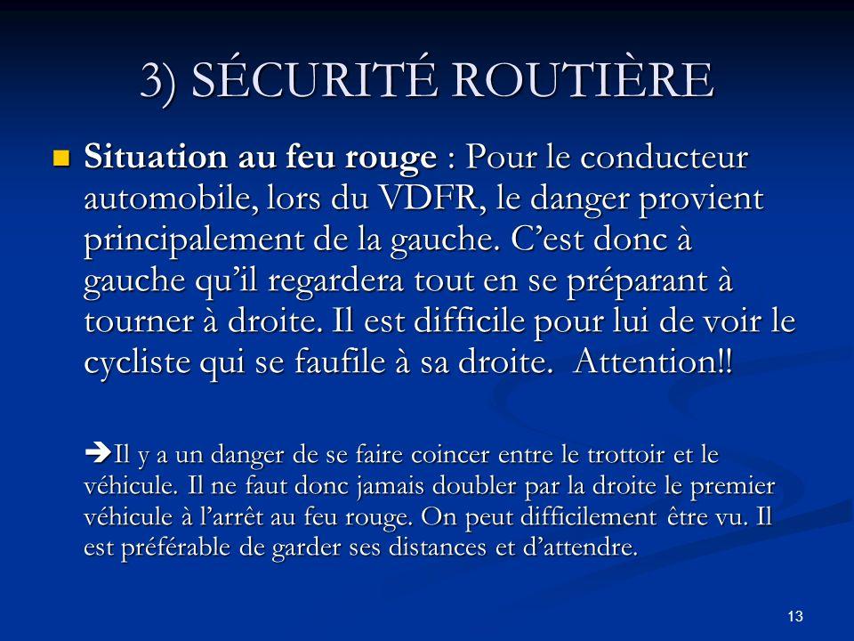 13 3) SÉCURITÉ ROUTIÈRE Situation au feu rouge : Pour le conducteur automobile, lors du VDFR, le danger provient principalement de la gauche. Cest don