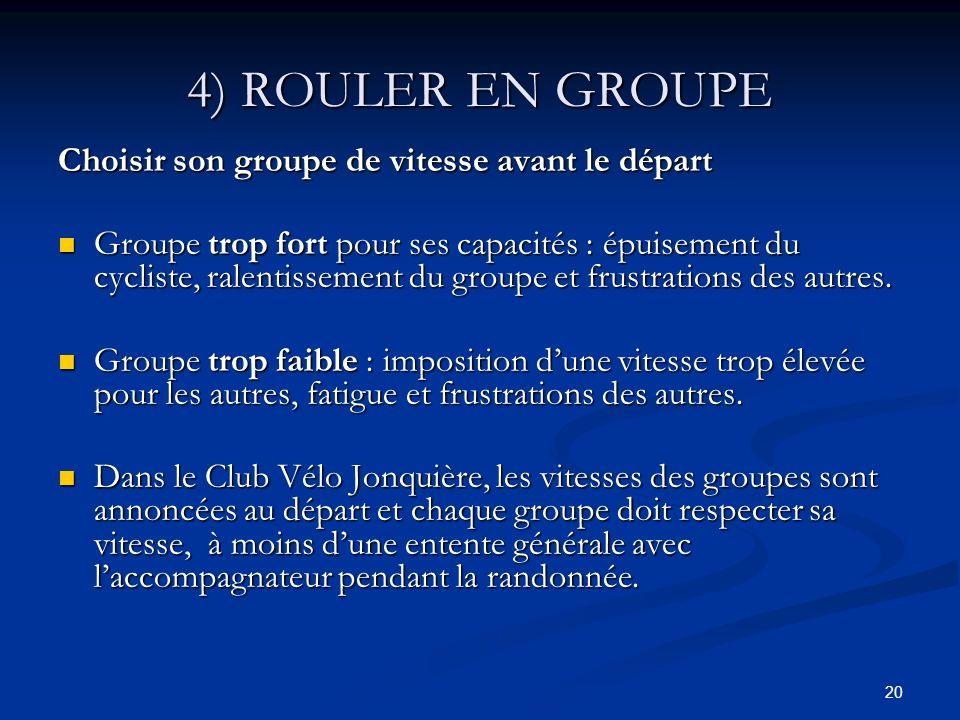 20 4) ROULER EN GROUPE Choisir son groupe de vitesse avant le départ Groupe trop fort pour ses capacités : épuisement du cycliste, ralentissement du g