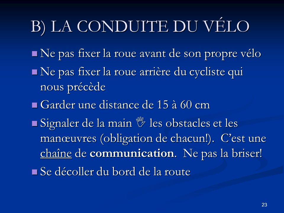 23 B) LA CONDUITE DU VÉLO Ne pas fixer la roue avant de son propre vélo Ne pas fixer la roue avant de son propre vélo Ne pas fixer la roue arrière du