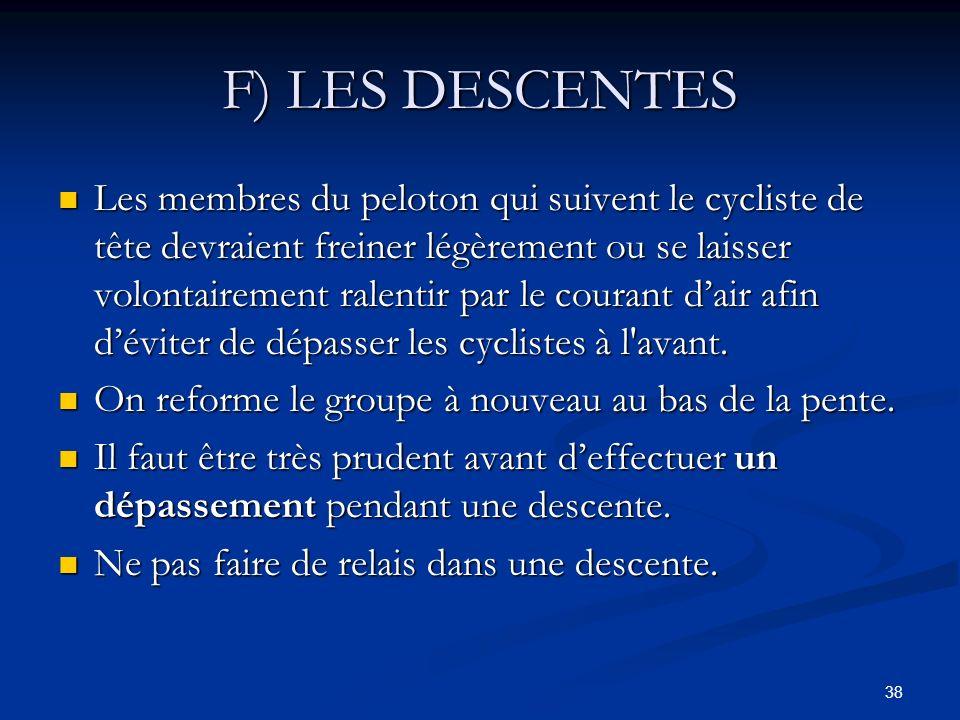 38 F) LES DESCENTES Les membres du peloton qui suivent le cycliste de tête devraient freiner légèrement ou se laisser volontairement ralentir par le c