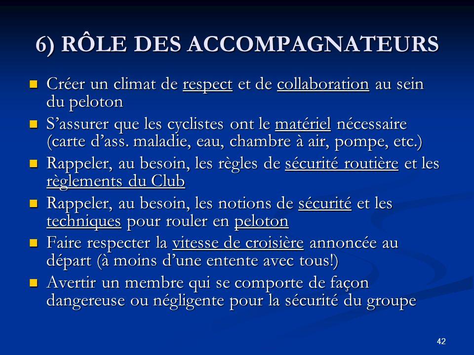 42 6) RÔLE DES ACCOMPAGNATEURS Créer un climat de respect et de collaboration au sein du peloton Créer un climat de respect et de collaboration au sei