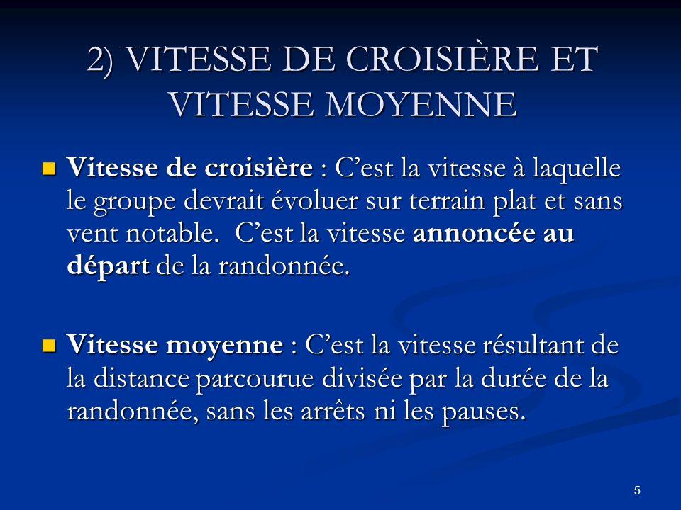 5 2) VITESSE DE CROISIÈRE ET VITESSE MOYENNE Vitesse de croisière : Cest la vitesse à laquelle le groupe devrait évoluer sur terrain plat et sans vent
