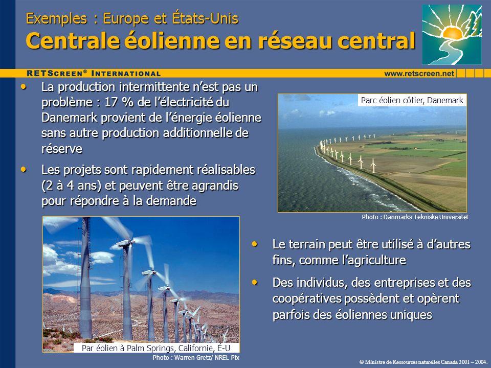© Ministre de Ressources naturelles Canada 2001 – 2004. Exemples : Europe et États-Unis Centrale éolienne en réseau central La production intermittent