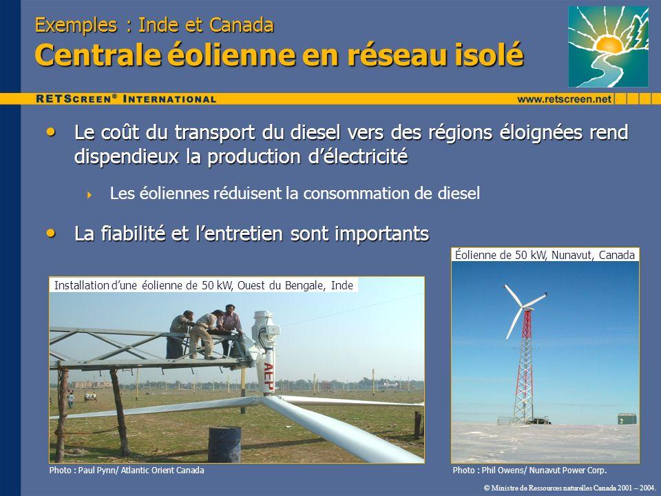 © Ministre de Ressources naturelles Canada 2001 – 2004. Exemples : Inde et Canada Centrale éolienne en réseau isolé Le coût du transport du diesel ver