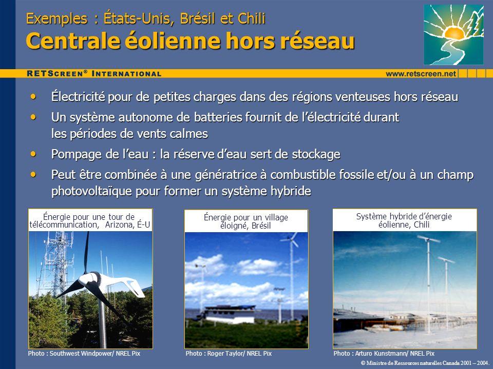 © Ministre de Ressources naturelles Canada 2001 – 2004. Exemples : États-Unis, Brésil et Chili Centrale éolienne hors réseau Électricité pour de petit