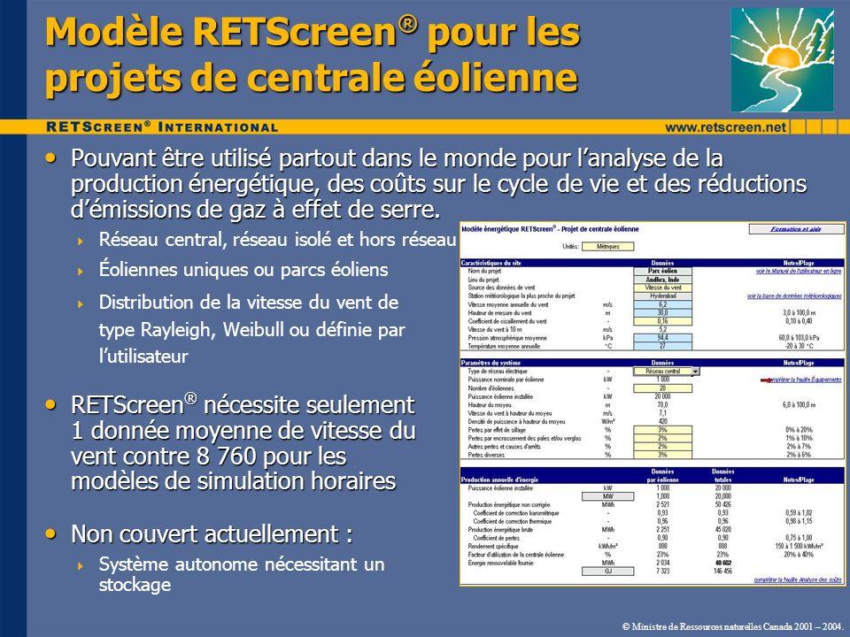 © Ministre de Ressources naturelles Canada 2001 – 2004. Modèle RETScreen ® pour les projets de centrale éolienne Pouvant être utilisé partout dans le