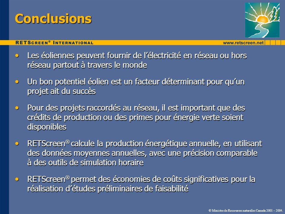 © Ministre de Ressources naturelles Canada 2001 – 2004. Conclusions Les éoliennes peuvent fournir de lélectricité en réseau ou hors réseau partout à t
