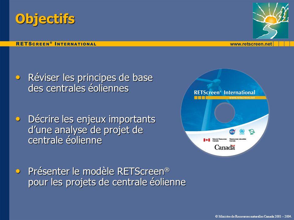 © Ministre de Ressources naturelles Canada 2001 – 2004. Objectifs Réviser les principes de base des centrales éoliennes Réviser les principes de base
