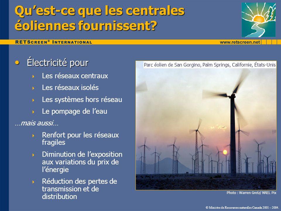 © Ministre de Ressources naturelles Canada 2001 – 2004. Électricité pour Électricité pour Les réseaux centraux Les réseaux isolés Les systèmes hors ré