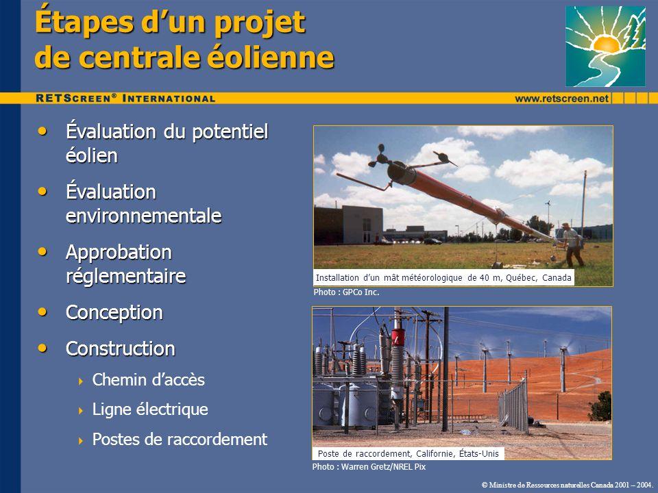 © Ministre de Ressources naturelles Canada 2001 – 2004. Étapes dun projet de centrale éolienne Évaluation du potentiel éolien Évaluation du potentiel