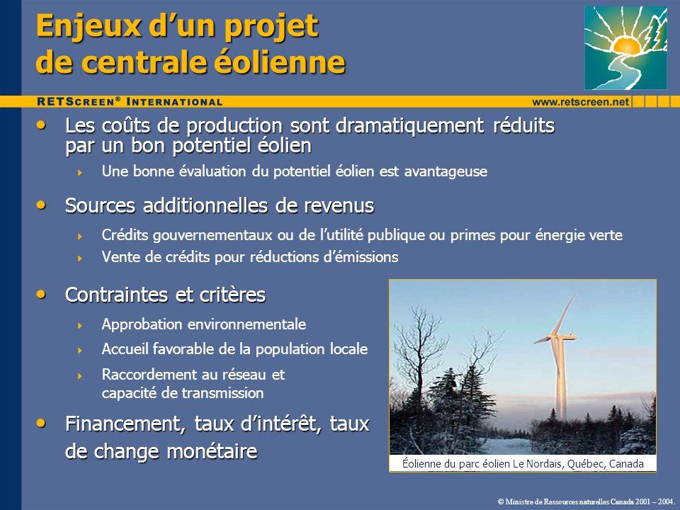 © Ministre de Ressources naturelles Canada 2001 – 2004. Enjeux dun projet de centrale éolienne Contraintes et critères Contraintes et critères Approba