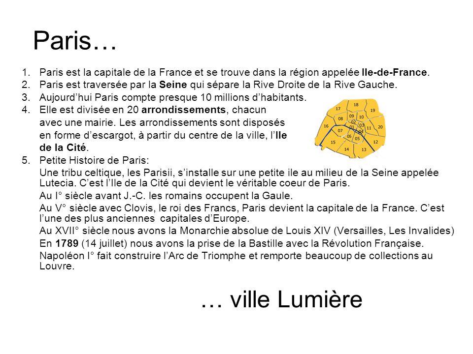 Paris… 1.Paris est la capitale de la France et se trouve dans la région appelée Ile-de-France. 2.Paris est traversée par la Seine qui sépare la Rive D