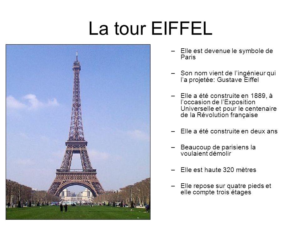 La tour EIFFEL –Elle est devenue le symbole de Paris –Son nom vient de lingénieur qui la projetée: Gustave Eiffel –Elle a été construite en 1889, à lo