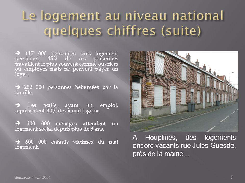 A Houplines, des logements encore vacants rue Jules Guesde, près de la mairie… dimanche 4 mai 20143 117 000 personnes sans logement personnel.
