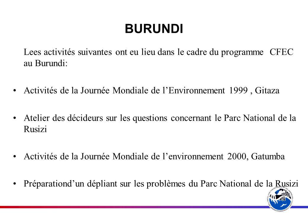 BURUNDI Lees activités suivantes ont eu lieu dans le cadre du programme CFEC au Burundi: Activités de la Journée Mondiale de lEnvironnement 1999, Gitaza Atelier des décideurs sur les questions concernant le Parc National de la Rusizi Activités de la Journée Mondiale de lenvironnement 2000, Gatumba Préparationdun dépliant sur les problèmes du Parc National de la Rusizi