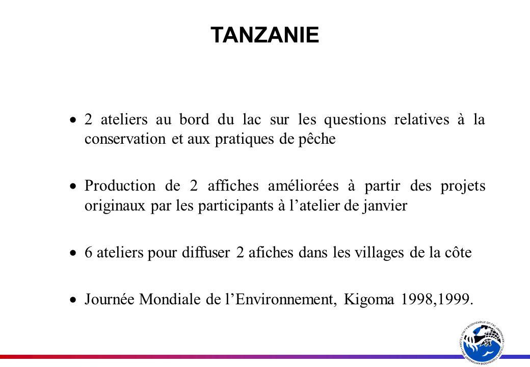 TANZANIE 2 ateliers au bord du lac sur les questions relatives à la conservation et aux pratiques de pêche Production de 2 affiches améliorées à partir des projets originaux par les participants à latelier de janvier 6 ateliers pour diffuser 2 afiches dans les villages de la côte Journée Mondiale de lEnvironnement, Kigoma 1998,1999.