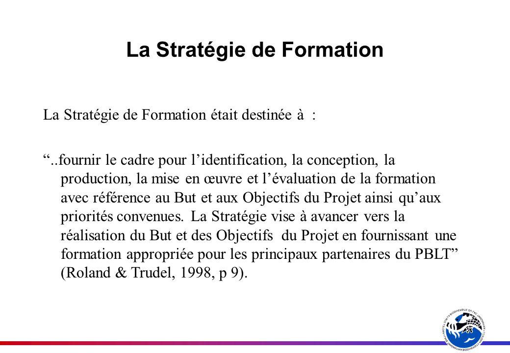 La Stratégie de Formation La Stratégie de Formation était destinée à :..fournir le cadre pour lidentification, la conception, la production, la mise en œuvre et lévaluation de la formation avec référence au But et aux Objectifs du Projet ainsi quaux priorités convenues.