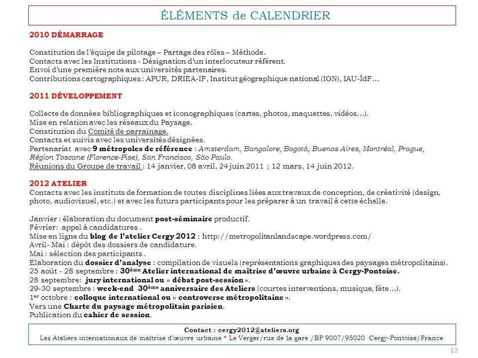 ÉLÉMENTS de CALENDRIER 2010 DÉMARRAGE Constitution de léquipe de pilotage – Partage des rôles – Méthode. Contacts avec les Institutions - Désignation