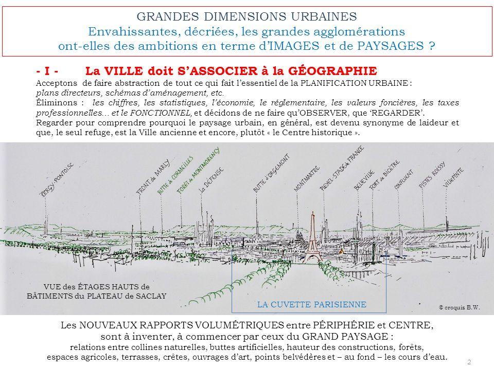 GRANDES DIMENSIONS URBAINES Envahissantes, décriées, les grandes agglomérations ont-elles des ambitions en terme dIMAGES et de PAYSAGES ? - I - La VIL