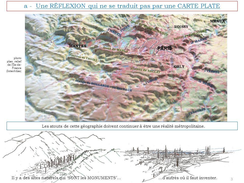 b - Les NOUVEAUX SOCLES de RÉFÉRENCES Les DÉVELOPPEMENTS MÉTROPOLITAINS se situent en POSITION DOMINANTE : 50 m au dessus du niveau moyen parisien (110 NGF au lieu de 59 NGF) A PARIS, il y a eu au travers des projets successifs, la volonté de maintenir la qualité des TRAITS essentiels du paysage : * Les buttes ferment le paysage (et ce nest pas le périphérique qui, lui, se situe au-delà du site parisien).