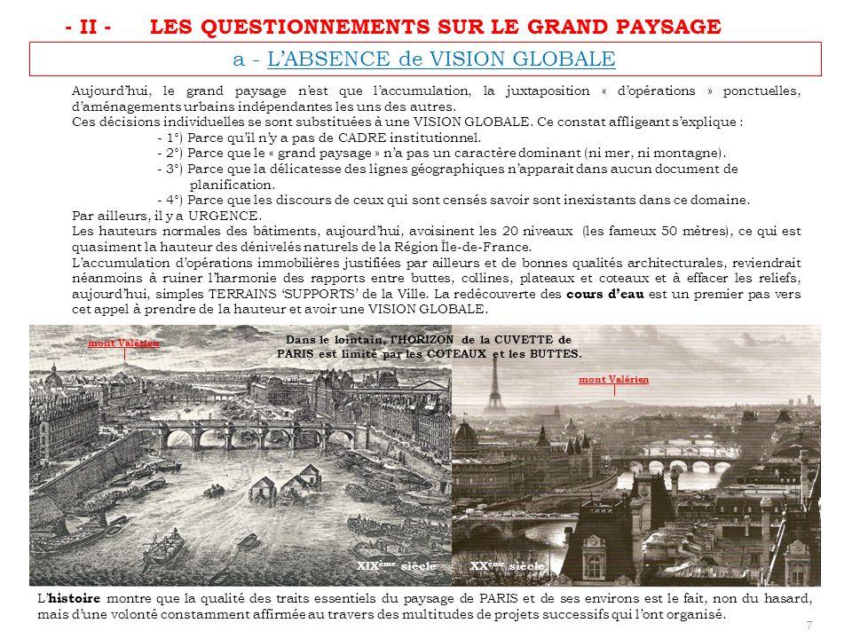 a - LABSENCE de VISION GLOBALE Dans le lointain, lHORIZON de la CUVETTE de PARIS est limité par les COTEAUX et les BUTTES. L histoire montre que la qu