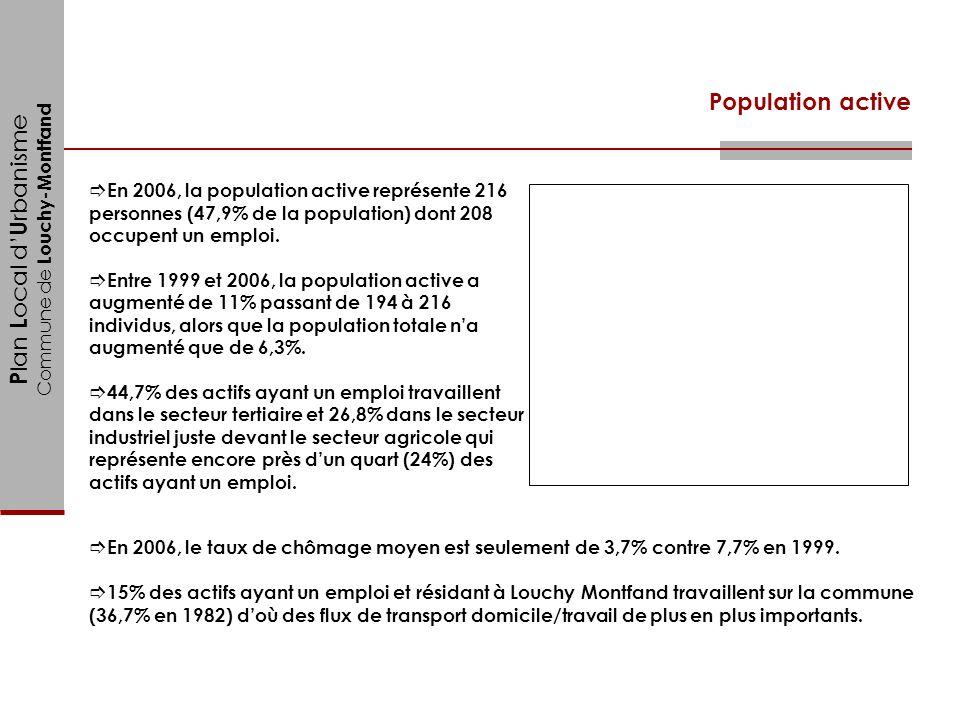 P lan L ocal d U rbanisme Commune de Louchy-Montfand En 2006, la population active représente 216 personnes (47,9% de la population) dont 208 occupent