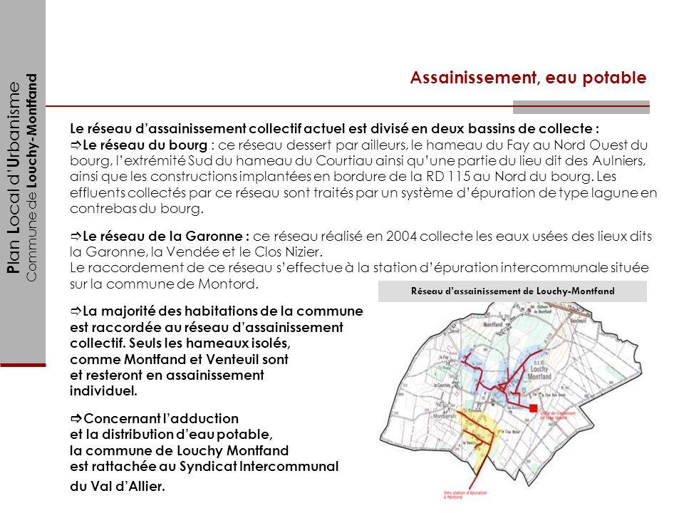 P lan L ocal d U rbanisme Commune de Louchy-Montfand Assainissement, eau potable Le réseau dassainissement collectif actuel est divisé en deux bassins