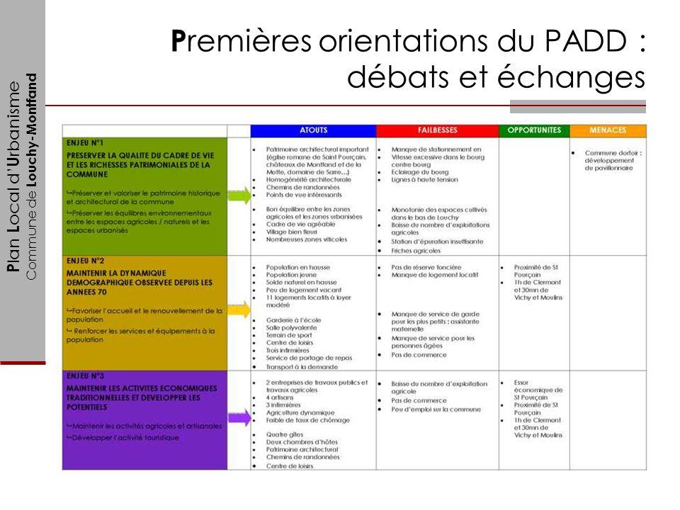 P lan L ocal d U rbanisme Commune de Louchy-Montfand P remières orientations du PADD : débats et échanges