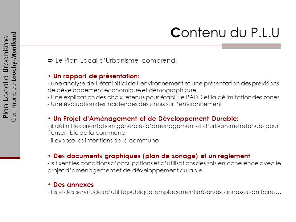 P lan L ocal d U rbanisme Commune de Louchy-Montfand Le Plan Local dUrbanisme comprend: Un rapport de présentation: - une analyse de létat initial de