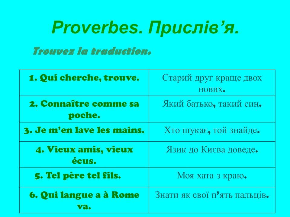Proverbes.Прислівя. Trouvez la traduction. 1. Qui cherche, trouve.