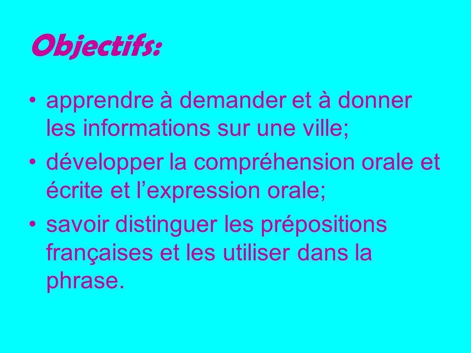 Objectifs: apprendre à demander et à donner les informations sur une ville; développer la compréhension orale et écrite et lexpression orale; savoir d